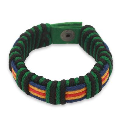 Men's wristband bracelet, 'Kente Expedition' - African Men's Cord Bracelet Hand Crafted Wristband