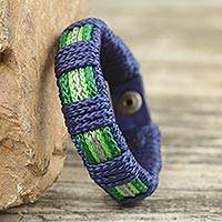 Men's wristband bracelet, 'Kente Tides' - Kente Themed Artisan Crafted Men's Blue Wristband Bracelet