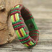 Men's wristband bracelet, 'Festive Kente' - Men's Hand Crafted Cord Wristband Bracelet Wine Green Yellow