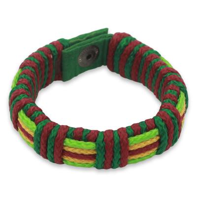 Men's wristband bracelet, 'Festive Kente' - Men's Hand Crafted Cord Wristband Bracelet Wine Green Yellow