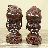 Ebony wood statuettes, 'Ghanaian Couple II' (pair) - Man and Woman Statuettes Hand Carved Ebony Wood (Pair)