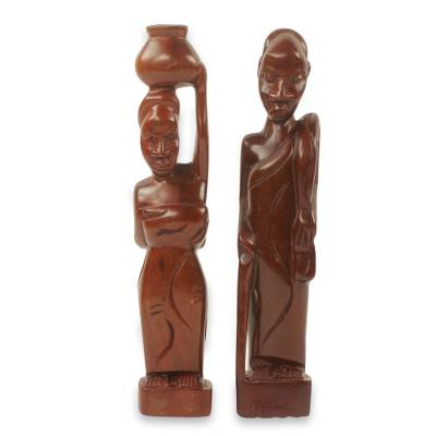 Ebony wood statuettes, 'Ena Ni Agya' (pair) - Akan Mother and Father Ebony Sculptures Hand Carved (Pair)