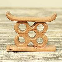 Ebony wood mini decorative stool, 'Ashanti Stool' - Hand Carved Ebony Ashanti Mini Stool Throne from Ghana