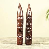 Ebony wood statuettes, 'Zulu Couple I' (pair) - Ebony Wood Hand Carved Statuettes of Zulu Couple (Pair)