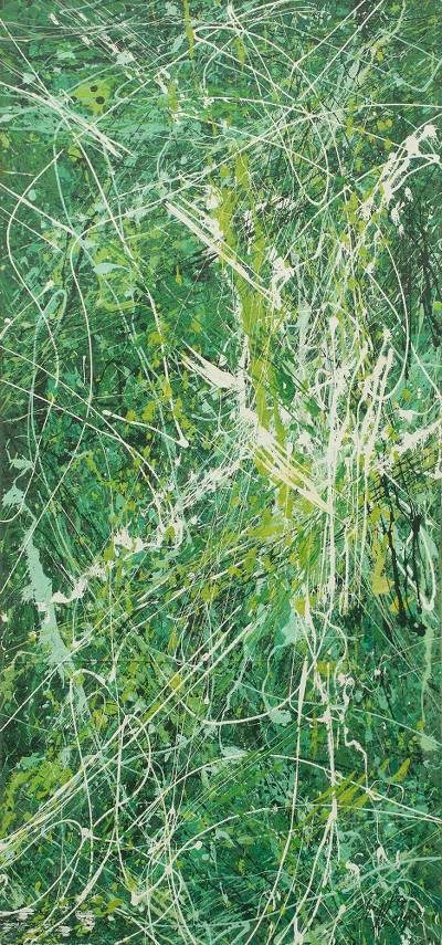 'Evergreen' - Signed Abstract Painting in Green and White from Africa