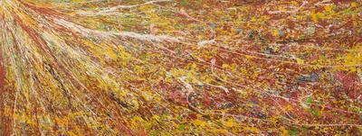 'Focus II' - Modern African Art Signed Fine Art Long Painting