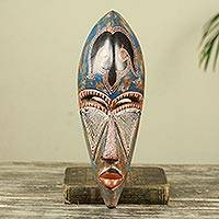 African wood mask, 'Agbemor' - Artisan Crafted African Wall Mask in Antiqued Blue