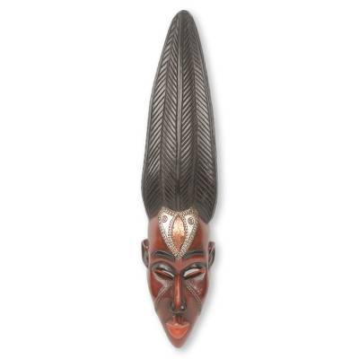 African wood mask, 'Mamprusi Lady' - African Female Wall Mask Artisan Crafted in Ghana