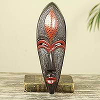 African wood mask, 'Dzekpi' - African Beauty Wall Mask in Embossed Aluminum on Wood