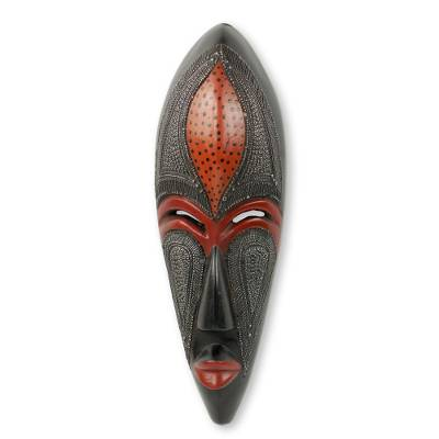 African Beauty Wall Mask in Embossed Aluminum on Wood