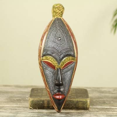 African wood mask, 'Warrior' - Fair Trade Artisan Crafted Wood African Mask for Wall