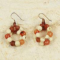 Agate dangle earrings, 'My Family's Love' - Handcrafted Agate Earrings in Cream and Reddish Brown