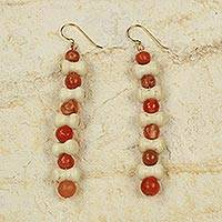 Agate dangle earrings, 'An Akan Blessing' - Agate Earrings Crafted by Hand in Cream and Orange