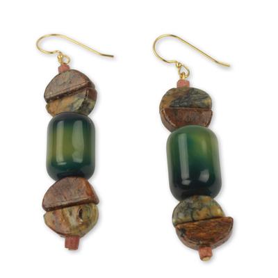 Agate and soapstone dangle earrings, 'A Living Love' - Handcrafted African Agate and Soapstone Earrings