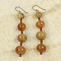 Bauxite and horn beaded earrings, 'Impontuo' - Ghanaian Artisan Jewelry Horn and Bauxite Earrings