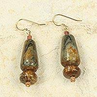 Soapstone and bauxite dangle earrings, 'Thanks for Helping' - African Handcrafted Natural Soapstone Earrings