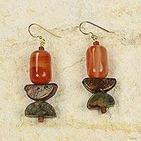 Agate and soapstone dangle earrings, 'Star of the Morning' - Handcrafted African Agate and Soapstone Earrings