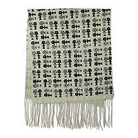 Cotton shawl, 'Akuaba' - Akuaba Motif Handwoven Cotton Fertility Shawl