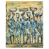 'Waiting' - West African Market Scene Original Painting
