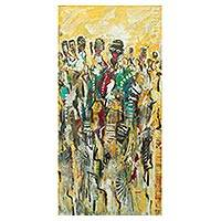 'Fashion Time' - Multicolor Original Ghanaian Painting of Fashionistas