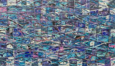 'Blue Fish' (2013) - Modern Blue Fish Painting from Ghana