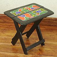 Beaded wood folding table, 'Birds in a Box' - Ghana Handcrafted Rectangular Beaded Wood Folding Table