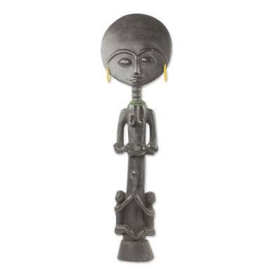 Wood fertility doll, 'Blessed Ashanti Mother' - Hand Carved African Fertility Doll with Children