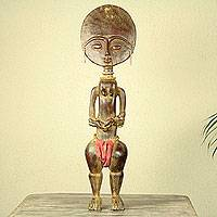 Wood fertility doll, 'Ashanti Midwife' - Hand Carved African Fertility Doll with an Infant