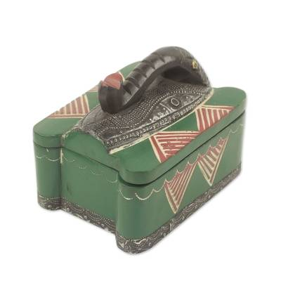Wood decorative box, 'Elephant Treasures' - Aluminum Elephant Mask on Green Decorative Wood Box
