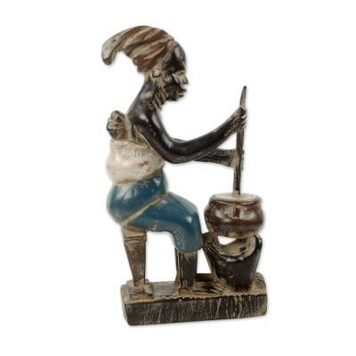 Wood sculpture, 'Bright Maame' - African Sculpture Woman and Child Cooking Hand Carved Wood
