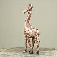 Wood sculpture, 'Timeless Giraffe' - Antiqued Animal Wood Sculpture Artisan Crafted in Ghana