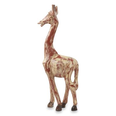 Wood sculpture, 'Timeless Giraffe' - Antiqued Animal Wood Sculpture Artisan Crafted in Ghana