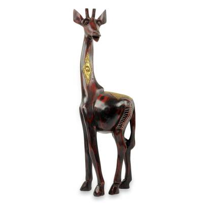 Wood and brass sculpture, 'Poised Giraffe' - Artisan Crafted Wood and Brass Animal Theme Sculpture