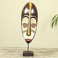 African wood mask, 'Face of Hope' - African Wood Mask on Stand Crafted by Hand in Ghana
