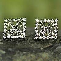 Sterling silver button earrings, 'Cola Nut' - Adinkra Symbol Sterling Silver and Cubic Zirconia Earrings