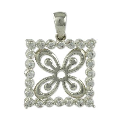 Adinkra Symbol Sterling Silver and Cubic Zirconia Pendant