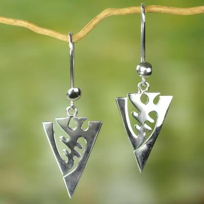 Sterling silver dangle earrings, 'I Fear Only God' - Artisan Crafted Modern Sterling Silver West African Earrings
