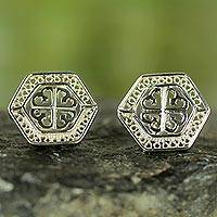 Sterling silver button earrings, 'Filigree Tree of God' - African Tree of God Silver Filigree Earrings