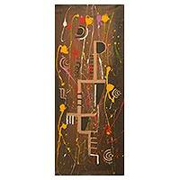 'Free' - Multi Color Abstract Painting Signed Art from Ghana