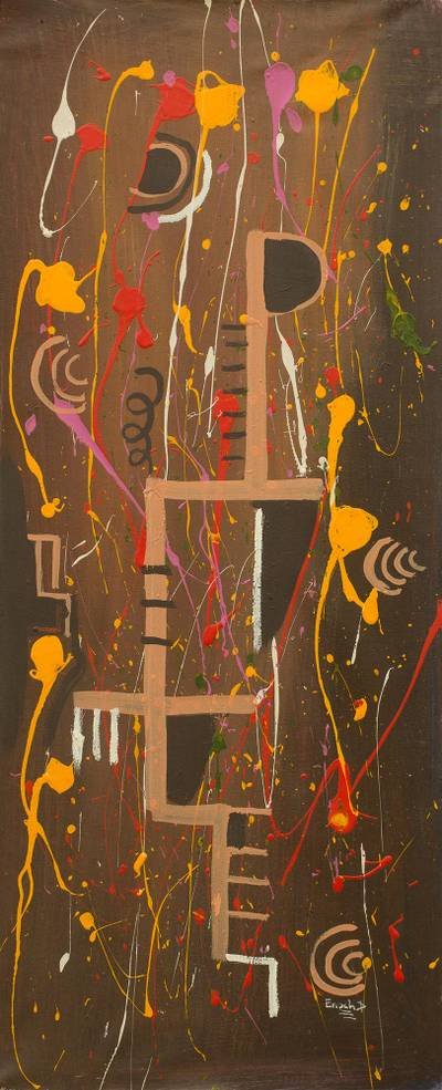 'Free' - Multi colour Abstract Painting Signed Art from Ghana