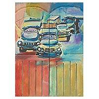 'Step to Know' (diptych) - Acrylic on Wood Diptych Painting Old African Cars