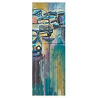 'Just That' (diptych) - Signed Diptych Painting Old African Cars in Acrylic on Wood