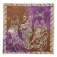 Batik wall hanging, 'Rites of Passage' - Brown and Purple Batik on Cotton Ghanaian Wall Hanging