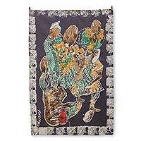 Batik wall hanging, 'Power of the Tongue' - Multicolor on Black Signed Batik Wall Hanging from Ghana