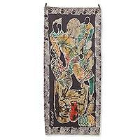 Batik wall hanging, 'Prophecy' - Signed African Batik Cotton Wall Hanging from Ghana