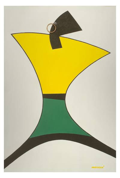 'Boutique' - Geometric Green and Yellow African Fashion Painting