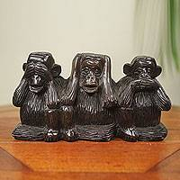 Ebony sculpture, 'Monkey Wisdom' (5.5 inches) - Hand Carved African Ebony See No Evil Sculpture (5.5 Inches)
