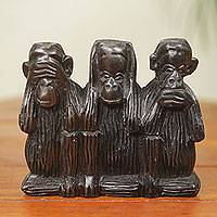 Ebony sculpture, 'Monkey Wisdom' (4.5 inches) - Hand Carved African Ebony Monkey Sculpture