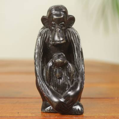 Ebony sculpture, 'Mother Chimp' - African Hand Carved Ebony Chimpanzee Motherhood Sculpture