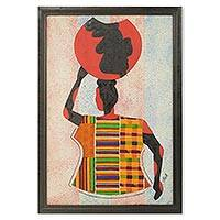 Cotton batik wall art, 'Water Carrier' - African Kente Cloth Collage Framed Oil Painting